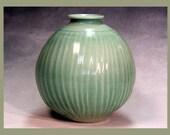 Porcelain bottle shaped, hand made, ceramic vase copper green with crackle glaze celadon green for home decoration or wedding gift