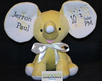 YELLOW Elephant Ears Birth Announcement Baby Keepsake Plush Stuffed Animal Cubbie Personalized