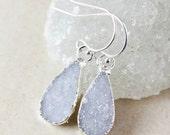 50 OFF SALE Blue Teardrop Druzy Dangle Earrings - Choose Your Druzy - Silver