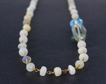 25% OFF Ethiopian Opal Layering Necklace – Green Amethyst & Blue Topaz
