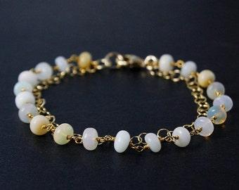 20% OFF White Opal Bracelet – Opal Beads – 14K Gold Filled Chain