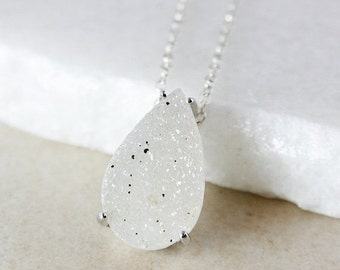 50% OFF White Teardrop Druzy Necklace - Choose Your Druzy Pendant - 925 Sterling Silver