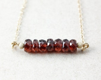 40 OFF SALE January Red Garnet Bar Necklace - Birthstone Necklace