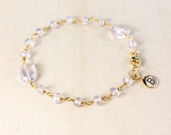 Pink Amethyst Charm Bracelet – Initial Charm