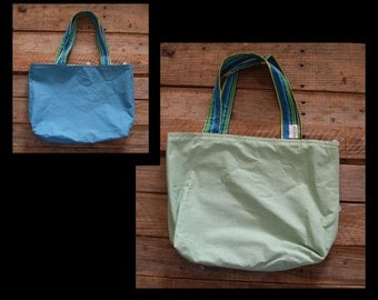 SALE**** Scrappy Tote Lime Green and Light Blue