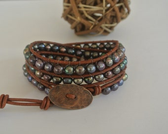 Venus Freshwater Pearl Beaded Leather Wrap Bracelet
