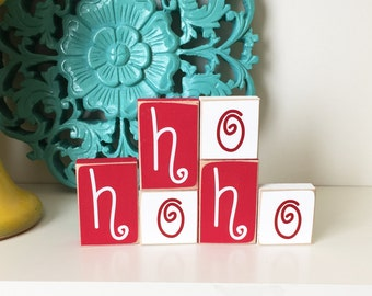 HoHoHo Blocks- Christmas decor, Christmas Wood Sign, HoHoHo Sign, Wood Christmas Sign, Christmas Home Decor, Christmas Wooden Decor, Hohoho