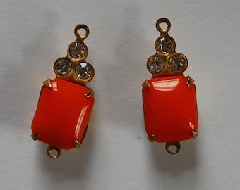 Vintage Glass & Rhinestone Beads Opaque Orange Octagon Pendant Connector Swarovski Rhinestones 17x8mmm