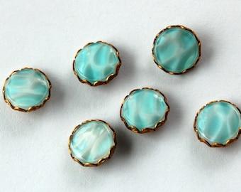 Vintage Flutter Glass Light Blue Wave Pattern • 6 Buttons or Beads • 13mm