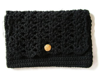 Black Crocheted Clutch Purse, Black Handbag, Pocketbook