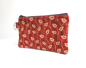 Rustic Red and Tan Zippered Bag / Coin Purse / Id Case / Gadget Pouch with Split Ring - READY TO SHIP