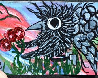 Baby Bird Crow, Fairy, Aceo, Atc, Painting, Original Acrylic, Tulip