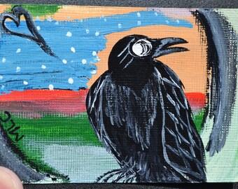Crow Black Bird Aceo, Atc, Painting, Original Acrylic, Winter Is Coming