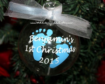 Baby's 1st First Christmas Personalized Ornament Boy or Girl YOUR COLORS