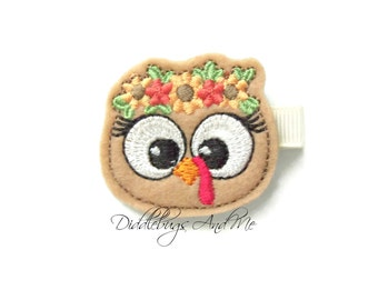 Girl Turkey Hair Clip, Fall Hair Clip, Girls Turkey Hair Clip, Felt Turkey Hair Clip, Thanksgiving Hair Clip, Baby Girl Turkey Hair Clip