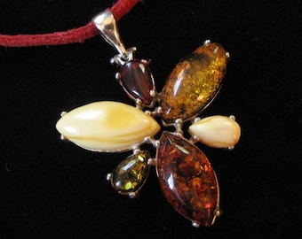 Sterling Silver Amber Pendant on Red Leather Cord, Multi Colored Amber