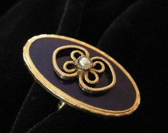 Royal Blue Enamel Costume Ring with Filigree