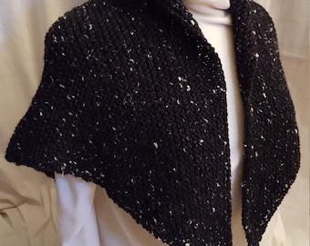 Tasha Tudor Style Shawl in Black & White TweedFREE SHIP
