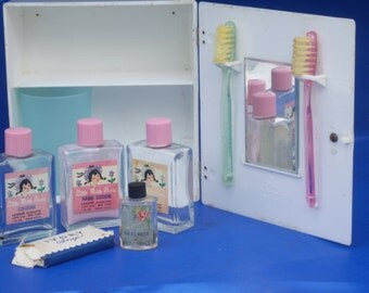 Little Miss Pixie Toiletries in a Kiddie Kabinette with Original Mirror, Toothbrushes and Cup with Penguin Cabinet