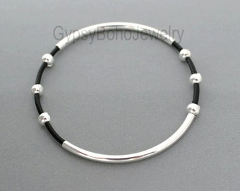 1 LEATHER Tube Bangle Double Silver Tubes - Genuine Natural Leather Cord Beaded Bracelet - Pick COLOR- Gift For Her - Under 20 -Usa 001