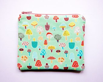 Zipper Pouch - Mushrooms on Mint Green - Available in Small / Large / Long