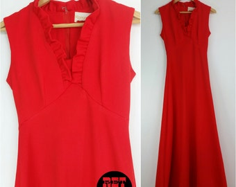 Bright Orange Red Vintage 60s 70s Maxi Dress with Ruffles!
