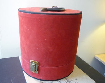 Vintage Traveling Case - - Retro Luggage or Storage - Red Case - Wig or Hat Box - Hard to Find - Unusual Case