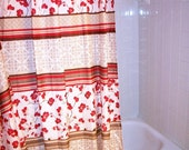 shower curtain Fabric Red flowers Asian style Shabby Cottage Chic