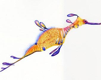 Sea Dragon, original watercolor