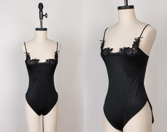 Vintage Black One Piece Teddy / Cami Bodysuit - Lingerie Romper with Floral Lace - XS / size 32 bust