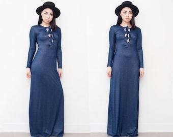 Faux Denim Metallic Sheen Maxi Long Sleeve Tie Up Dress S - M