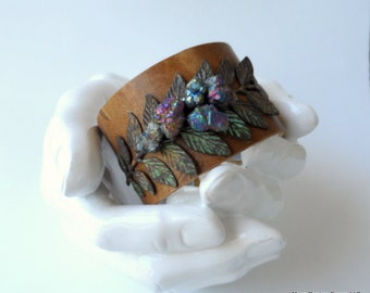"leather cuff bracelet  - soft embossed leather with verdigris leaf and pyrite  - 1.5"" wide"
