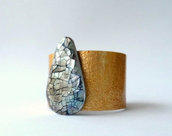 """patent leather cuff bracelet  - gold metallic leather with mother of pearl - 1.5"""" wide"""