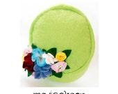 wool felt hat /mo chapeau with bountiful bouquet /pill box