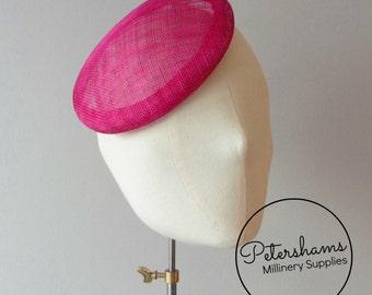 16cm Round Sinamay Button Fascinator Base Sinamay Millinery Fascinator Hat Base - Cerise Pink