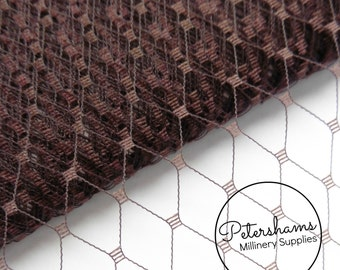 9 Inch (23cm) Russian / French Veiling for wedding blusher veils, fascinators and millinery 1m (1.09 yards) - Chocolate Brown
