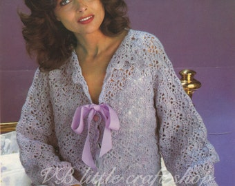 Lady's bed  jacket crochet pattern. Instant PDF download!