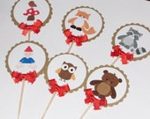 Woodland Cupcake Toppers, Forest Friends, Gnome, Fox, Bear, Raccoon, Owl, Bird, Toadstool, Baby Shower, Birthday, Party supplies