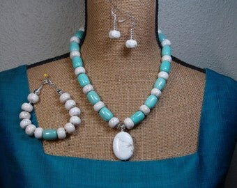 Natural American White Buffalo Turquoise, Blue Turquoise, 925 Silver Necl;ace, Bracelet, and Earrings