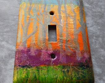 Sunset Landscape, switch plate cover, toggle switch plate, abstract, mixed media, green, violet, orange and yellow, blue,