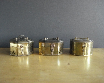 Brass Treasure Box Collection - Set of THREE Vintage Brass Cricket Boxes