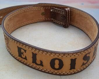 45% OFF Vintage Western Belt, Nocona Belt, 70s Belt, Western Name Belt with Eloise, Tooled Leather Belt Waist 27.5 to 30.25