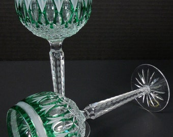 Hock Wine Glass Emerald Green Hungary Lot of 2