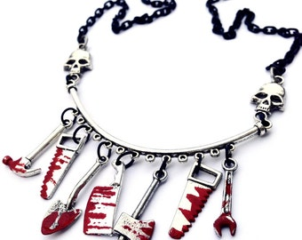 Choose Your Weapon Blood and Skulls Necklace, Bloody Weapons and Skulls Horror Necklace with Black Chain
