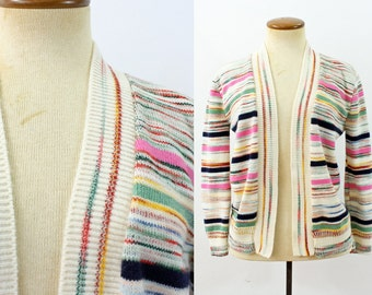 1970s Cardigan Grandma Chic Sweater Open Front Space Dyed Striped Knit White Pink Bohemian Vintage 70s Multicolor Retro Cropped Extra Small