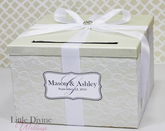 Wedding Card Box Cream Ivory and White Lace Vintage Style Wedding Card Holder Customizable