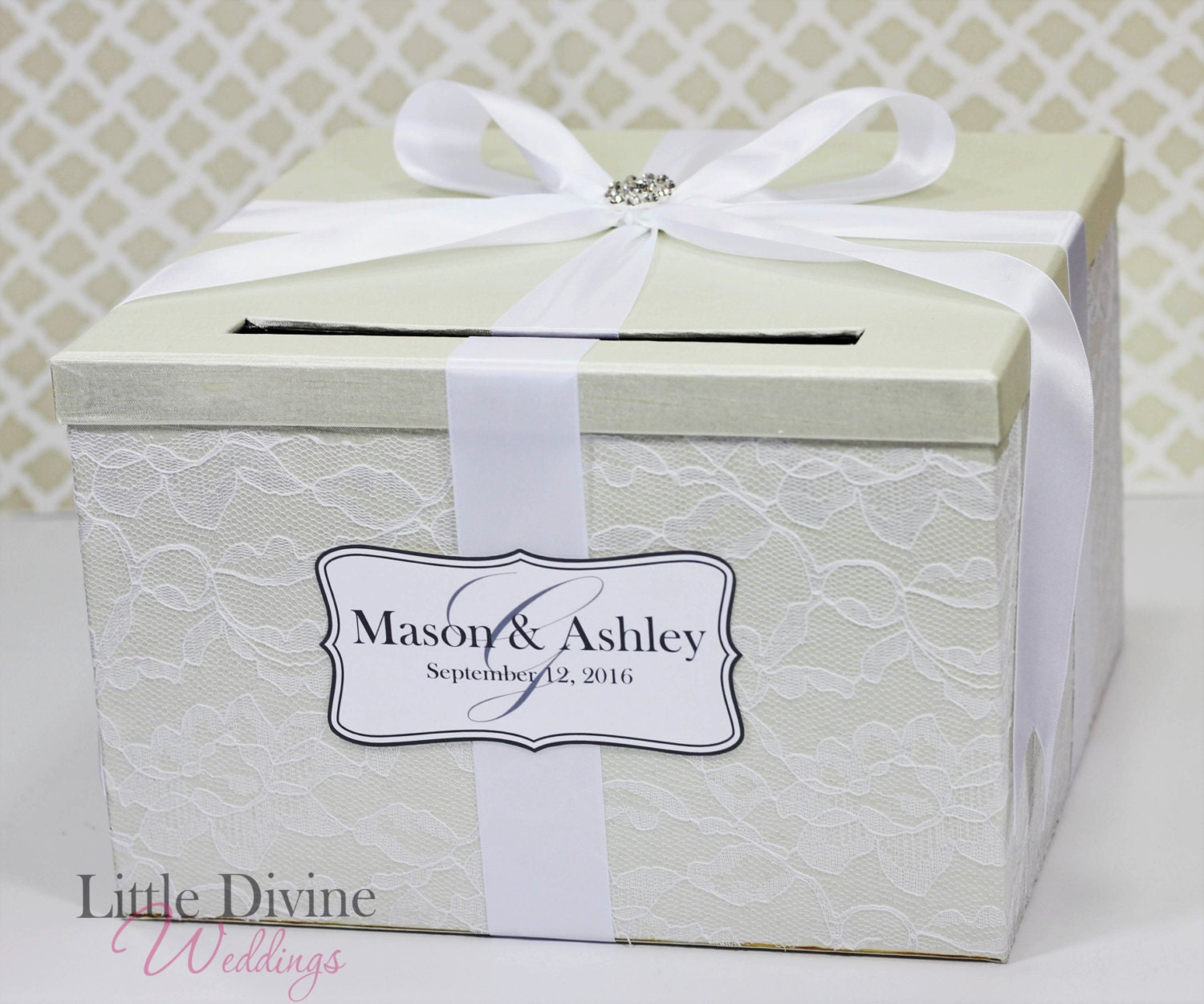 Wedding Card Box Cream Ivory And White Lace Vintage Style