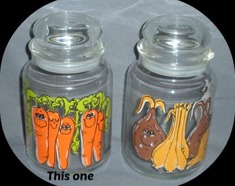 Animated Carrot Glass Canister Jar, Vintage, Retro 1970s, Kitchen Glassware, Hildi, Kitchen Storage, J Parker Uniques