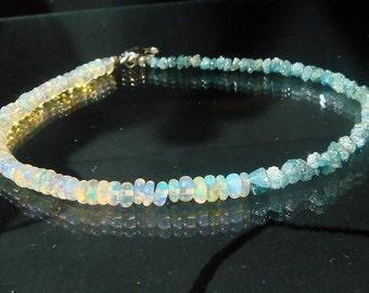 Opal Bracelet, Rough Blue Diamond Bracelet, AAA Opal Rondelles, Raw Natural Organic Uncut Diamond, Rustic Modern Diamond, Stacking, Layering