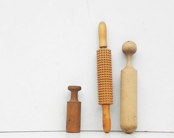 Vintage Wood Wooden Pestles and Textured dough Rolling Pin Vintage Kitchen
